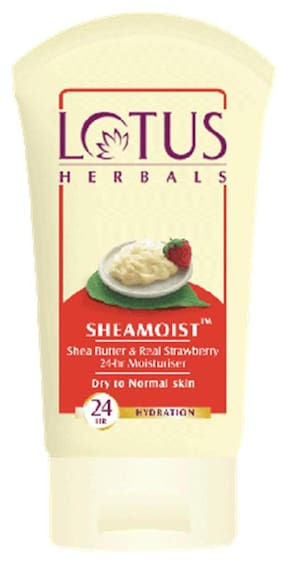 Lotus Herbals Sheamoistshea Butter & Real Strawberry 24-Hrs Moisturiser (Pack of 3)
