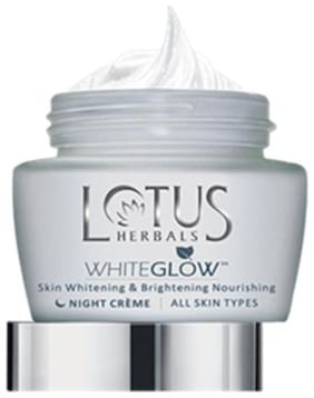 Lotus Herbals White Glow Skin Whitening & Brightening Nourishing Night Cream 60 g (Pack of 2)