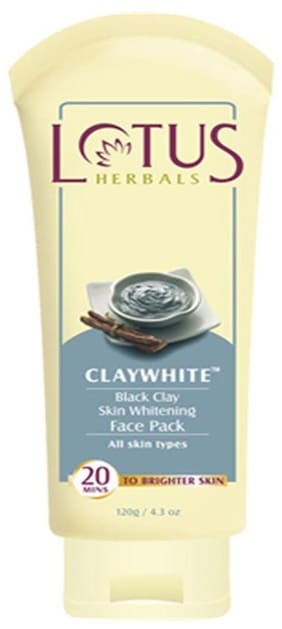 Lotus Herbals Claywhite Black Clay Skin Whitening Face Pack 60 G (Pack of 2)