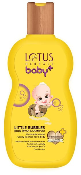 Lotus Herbals Baby+ Little Bubbles Body Wash & Shampoo 200gm