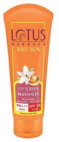 Lotus Herbals Safe Sun Uv Screen Matte Gel Pa+++ - Spf 50  100 g