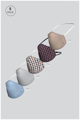 Louis Philippe Cotton Designer Face Mask L Size For Men ( Pack of 5 )