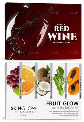 Luster Red Wine Age Reflect And Fruit Glow Fairness Facial Kit-310 ml (Pack of 2)