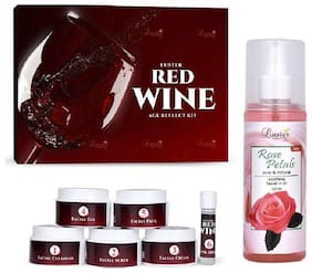 Luster Red Wine Age Reflect Facial Kit (310 g) Rose Petals Pure & Natural Rose Water (225 ml) Pack of 2