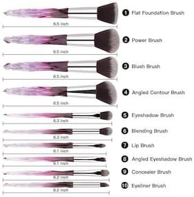 Luxury Beauty Transparent Plastic Handle Essential Make-up Brushes Kit for Powder Liquid Cream Cosmetics Blending Blush Concealer (Purple) - 10 pcs Set