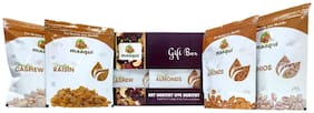 Maaqui Healthy Dry Fruits Gift Box-400g (California Almond, Raisin, Cashew, Roasted Pistachios-100g each)
