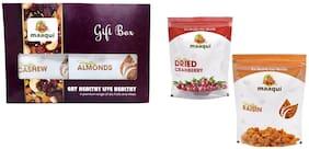 Maaqui Healthy Dry Fruits Gift Box-400gm (California Almond, Raisin, Cashew, Dried Cranberry-100gm each)