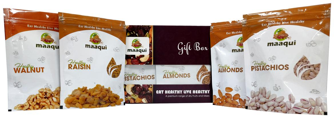 Maaqui Healthy Dry Fruits Gift Box-400gm (California Almond, Raisin, Roasted Salted Pistachios, Walnut-100gm each)