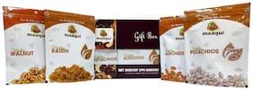 Maaqui Healthy Dry Fruits Gift Box-400g (California Almond, Raisin, Roasted Salted Pistachios, Walnut-100g each)