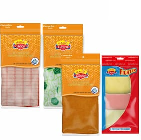 Magic Cleen Microfiber Cloth (Plain/Printed) 3 pcs, Net Scrubber 3 pcs (Pack Of 6)