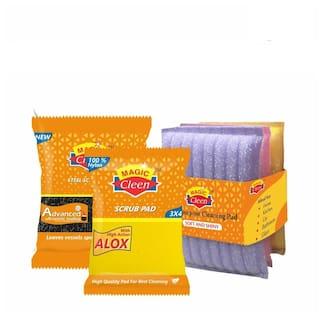 Magic Cleen Combo -Wool Scrubber -Small - (1 pc)/Nylon Pad With Sponge 3X4 - (2 pcs)/Scourer Pad - (1 Pack Of 3 pcs) - (1 pc)