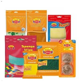 Magic Cleen Sponge Wipe(3Pcs)Green Pad (4 x 5-3Pcs)Green Pad With Sponge Alox(3 x 4-3Pcs)Stainless Steel Scrubber(2Pcs)Microfiber Cloth (Printed/Plain-3Pcs)Net Scrubber(3Pcs)