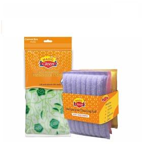 Magic Cleen Combo - Microfiber Cloth (Plain/ Printed) - (3 pcs)/Scourer Pad - (1 Pack Of 3 pcs) - (1 pc)