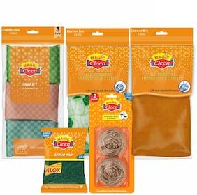 Magic Cleen Scourer Pad 3 pcs, Green Pad 2 pcs, Microfiber Cloth (Plain/Printed) 2 pcs, Stainless Steel Scrubber 2 pcs (Pack Of 9)