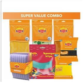 Magic Cleen Microfiber Cloth (Plain/ Printed) (3Pcs)Sponge Wipes (3Pcs)Wool Scrubber -Small(2Pcs)Nylon Pad With Sponge 3X4 (3Pcs)Scourer Pad(3Pcs)