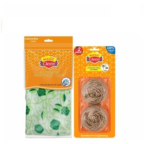 Magic Cleen Combo - Stainless Steel Scrubber (1 Pack of 2 pcs) - (1 pc)/Microfiber Cloth (Printed/Plain) - (3 pcs)