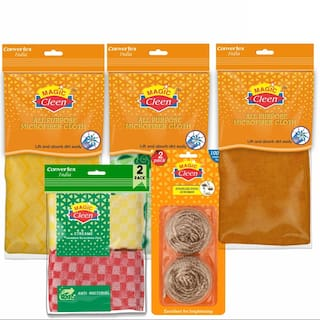 Magic Cleen Stainless Steel Scrubber2 pcs, Microfiber Cloth (Plain/Printed) 3 pcs & Bamboo Scourer Pad 2 pcs (Pack Of 7)