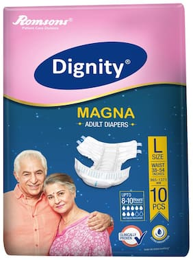 "Dignity Magna Adult Diaper Large 10 Pcs, Waist Size 38""- 54"", Pack of 1"