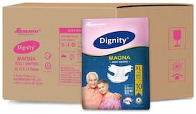 "Dignity Magna Adult Diaper Extra Large 10 Pcs, Waist Size 48""- 57"", Pack of 12"