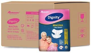 "Dignity Magna Adult Diaper Medium 10 pcs, Waist Size 28""- 45"", Pack of 12"