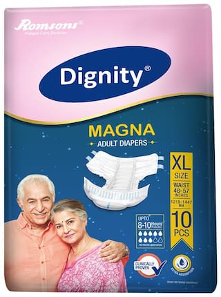 """Dignity Magna Adult Diaper Extra Large 10 pcs, Waist Size 48""""- 57"""", Pack of 1"""
