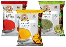 Maharaja Pure Turmeric,Chilli (mild spicy) & Coriander Powder Combo (Haldi,Laal Mirchi & Dhaniya) 400g each Pack of 3