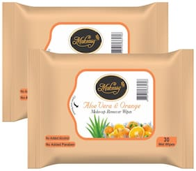 Makeasy Aloe Vera and Orange Peel Fresh Cleansing and Make-Up Remover Wipes;30 Count (Pack of 2)