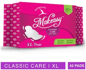 Makeasy Classic Care XL 100% Cottony Feel Sanitary Pads   Combo of 6 Packs (42 Pads)