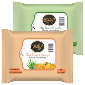 Makeasy Fresh Cleansing and Make-Up Remover Wipes Orange & Green Tea 30 Wipes each (Pack of 2)