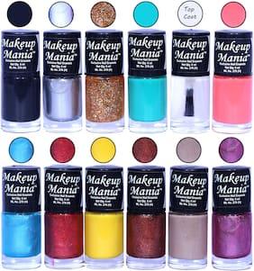 Makeup Mania Nail Polish / Nail Paint 6ml Each Set of 12 Multi Color Combo Set, No.112