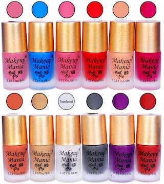 Makeup Mania Fashion Nail Paints Combo, Matte Nail Polishes 6 ml (Pack of 12)