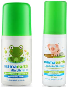 Mamaearth After Bite Roll On For Rashes & Mosquito Bites 40 ml For Babies, And Baby Skin Cleanser 100 ml (For Cleaning Pen, Marker, Make Up And Crayon Marks)