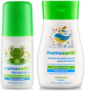 Mamaearth After Bite Roll On for Rashes & Mosquito 40ml for Babies, and nourishing wash (100 ml) (Pack of 2)