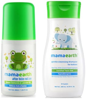 Mamaearth After Bite Roll On For Rashes & Mosquito Bites 40 ml For Babies, And Gentle Cleansing Shampoo For Babies (200 ml, 0-5 Yrs)