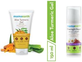 Mamaearth Aloevera Gel 150 ml, Night Cream 50 ml (Pack of 2)