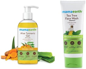 Mamaearth Aloe Vera Gel 300 ml and Tea Tree Natural Face Wash for Acne & Pimples Wash 100 ml (Pack of 2)