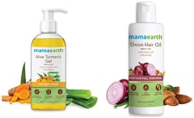 Mamaearth Aloe Vera Gel 300 ml Onion Oil for Hair Regrowth & Hair Fall Control with Redensyl 150ml (Pack of 2)