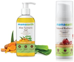 Mamaearth Aloe Vera Gel 300 ml and Day Cream with SPF 20+, Whitening and Tightening Face Cream 50 ml (Pack of 2)