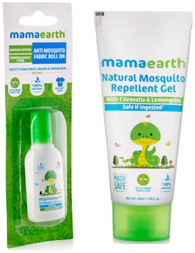 Mamaearth Anti Mosquito Fabric Roll On, 8ml and Natural Mosquito Repellent Gel, 50ml (Pack of 2)