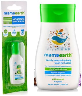 Mamaearth Anti Mosquito Fabric Roll On, 8ml & Nourishing Wash For Babies (100 ml, 0-5 Yrs) (Pack of 2)