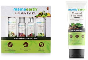 Mamaearth Anti Hair Loss Kit-Hair Oil (150 ml), Shampoo (200 ml), Conditioner (200 ml) & Tonic(150ml) And Charcoal Natural Face Wash (100ml) Pack of 5