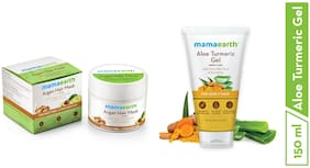 Mamaearth Argan Hairfall Control Mask 200ml + Aloe Vera Gel From 100% Pure Aloe Vera Plant For Face, Skin & Hair with Turmeric & Vitamin E 150 ml