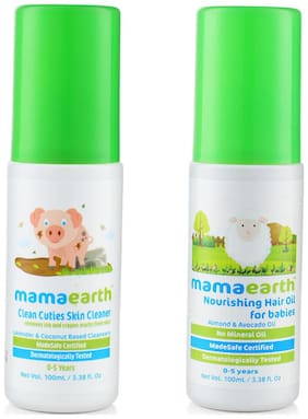 Mamaearth Baby Skin Cleanser 100 Ml (For Cleaning Pen, Marker, Make Up And Crayon Marks) And Nourishing Hair Oil For Babies 100Ml (0-10 Years)