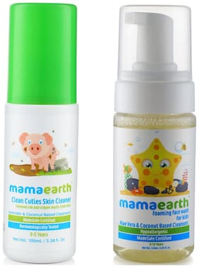 Mamaearth Baby Skin Cleanser 100 Ml (For Cleaning Pen, Marker, Make Up And Crayon Marks) And Foaming Baby Face Wash For Kids With Aloe Vera And Coconut Based Cleansers, 120 Ml