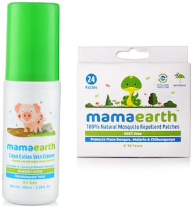 Mamaearth Baby Skin Cleanser 100 Ml,  And Natural Repellent Mosquito Patches For Babies, 24Pcs(7G)