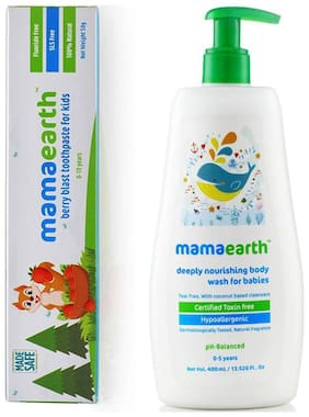 MamaEarth Berry toothpaste 50g and Nourishing Baby Wash 400ml (Pack of 2)