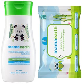 Mamaearth Daily Moisturizing Baby Lotion, 200ml andMamearth Baby Wipes Travel Pack (15 Wipes) (Pack of 2)