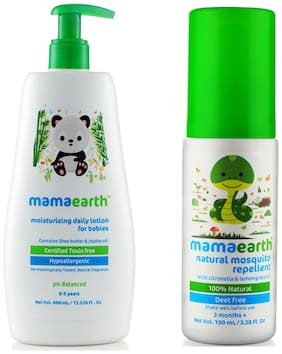 Mamaearth Daily Moisturizing Baby Lotion, 400ml and Natural Insect Repellent (100 ml) (Pack of 2)