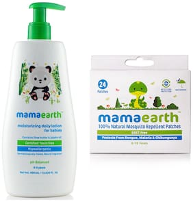 Mamaearth Daily Moisturizing Baby Lotion, 400ml and Natural Repellent Mosquito Patches for Babies, 24pcs 7g (Pack of 2)