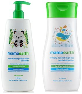 Mamaearth Daily Moisturizing Baby Lotion, 400ml and nourishing wash (200 ml) (Pack of 2)